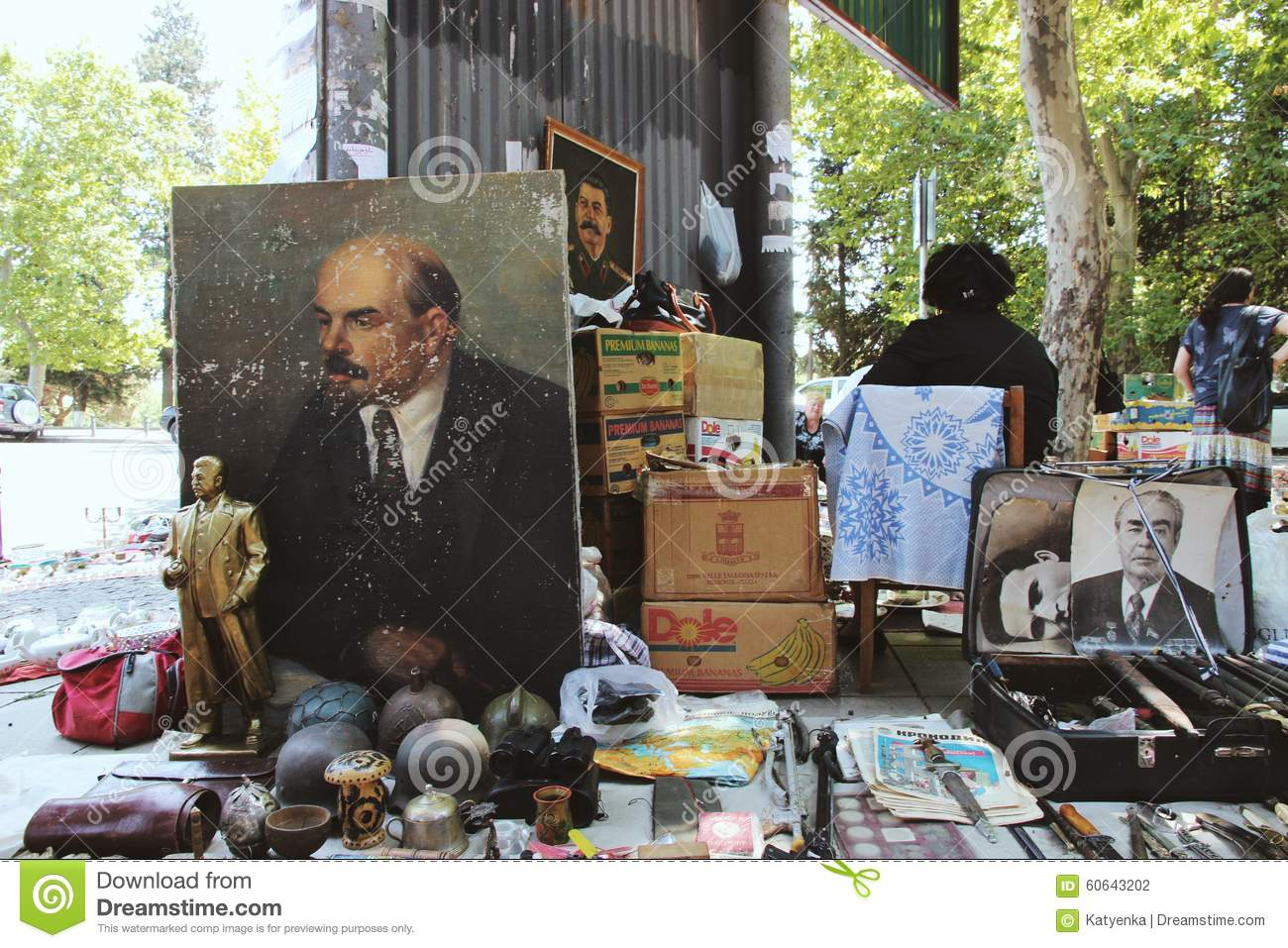 Georgia Tbilisi Flea Market Stock Photos Georgia Tbilisi: Lenin, Stalin, Brezhnev Portraits For Sale In Tbilisi Flea
