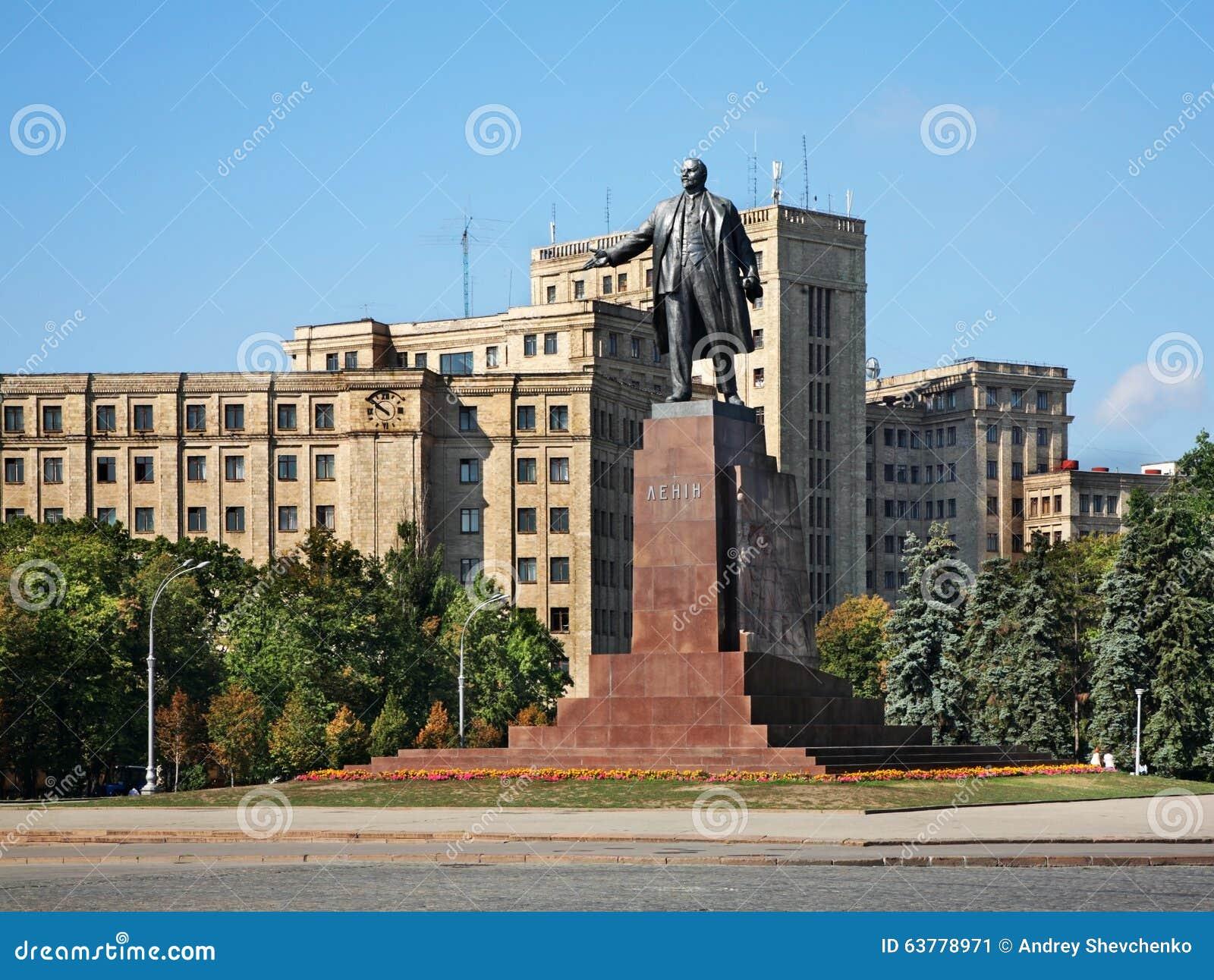 Lenin zabytek na wolność kwadracie w Kharkov Ukraina