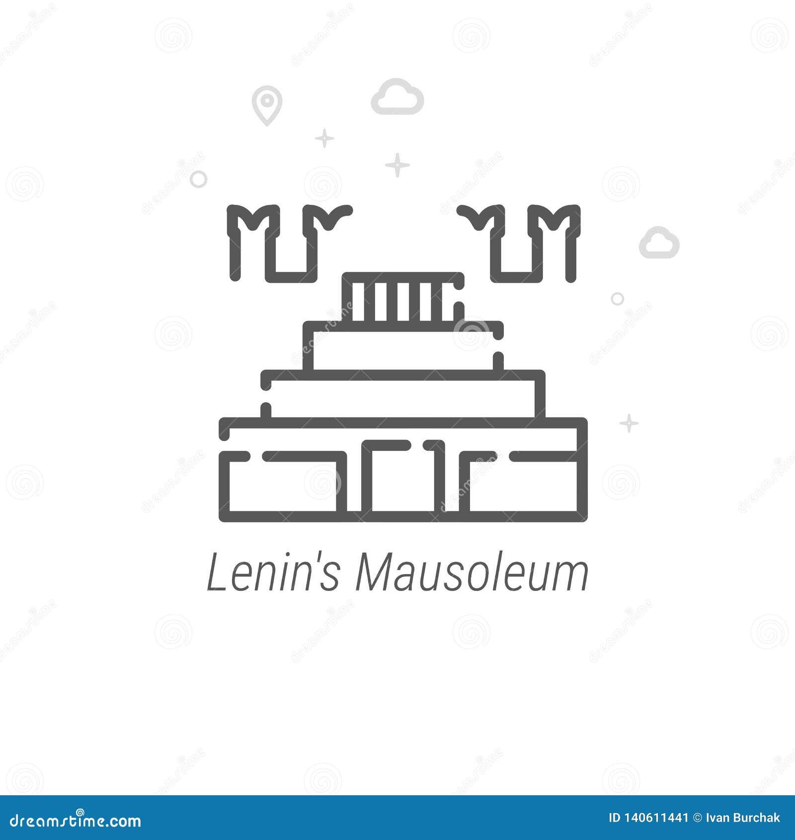 Lenins mausoleum, Moskvavektorlinje symbol, symbol, Pictogram, tecken geometrisk abstrakt bakgrund Redigerbar slaglängd