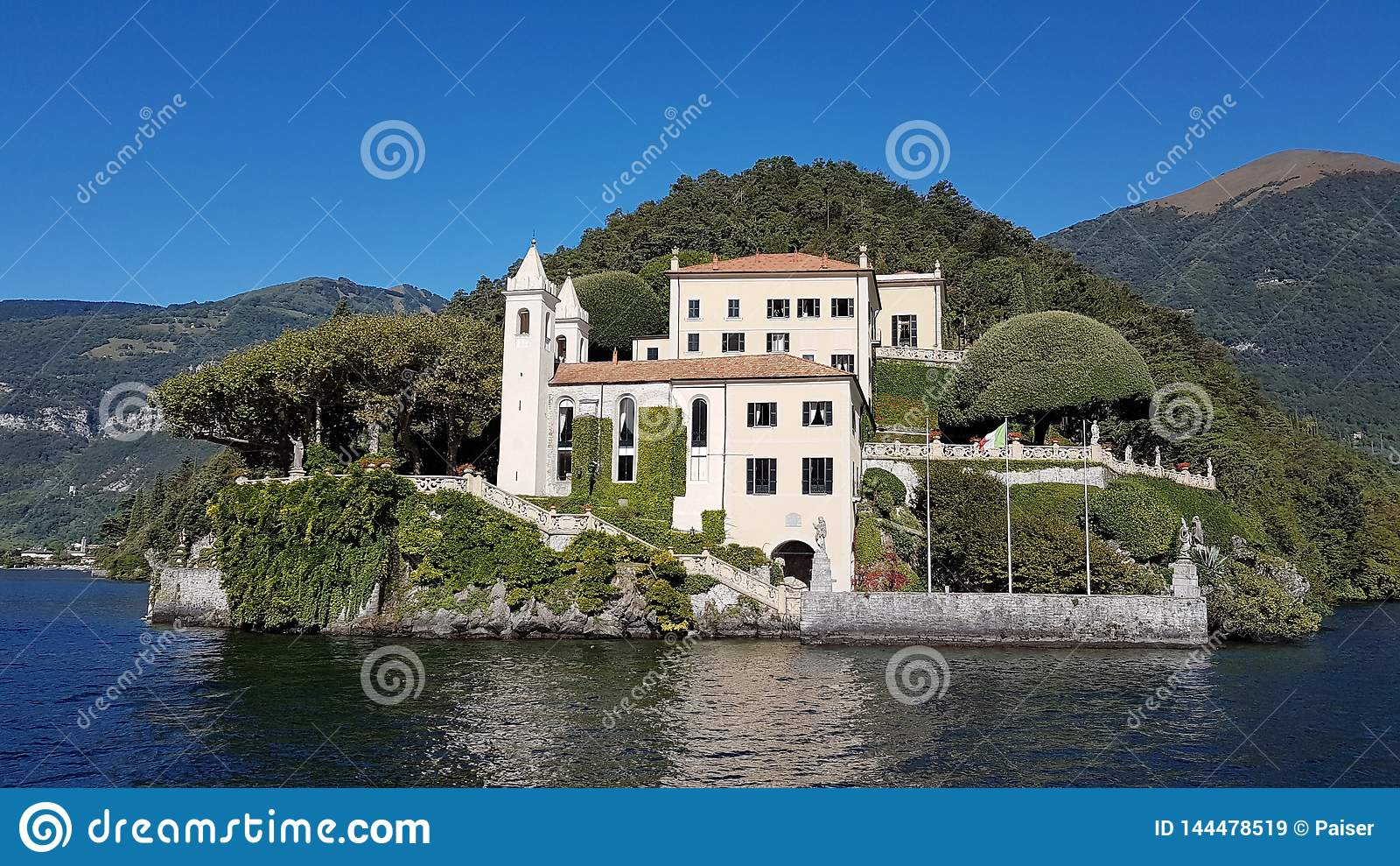 Lenno, Italy - Beautiful garden and Villa del Balbianello at Como Lake