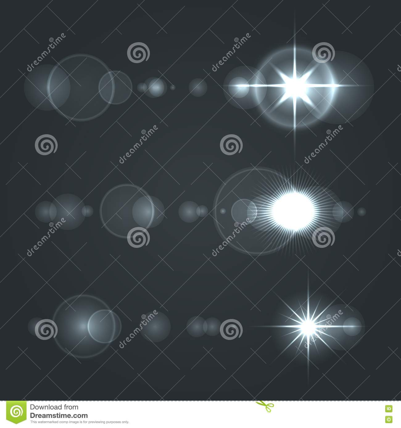 Lens Flare Set Sun With Transparent Background Stock