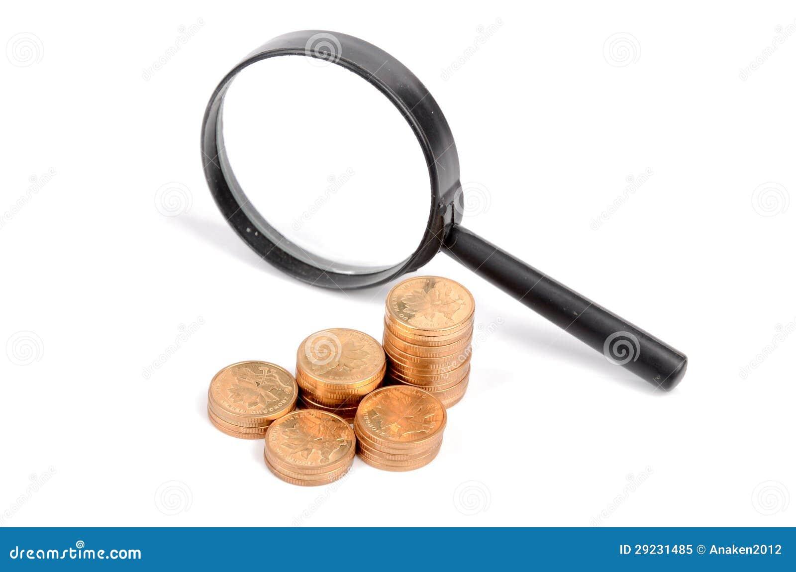 Download Lente de aumento e moeda imagem de stock. Imagem de equipamento - 29231485