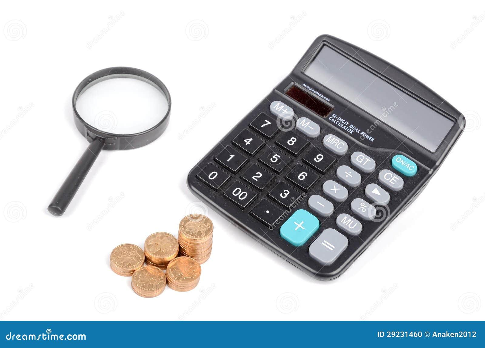 Download Lente De Aumento, Moedas E Calculadora Foto de Stock - Imagem de figura, moderno: 29231460