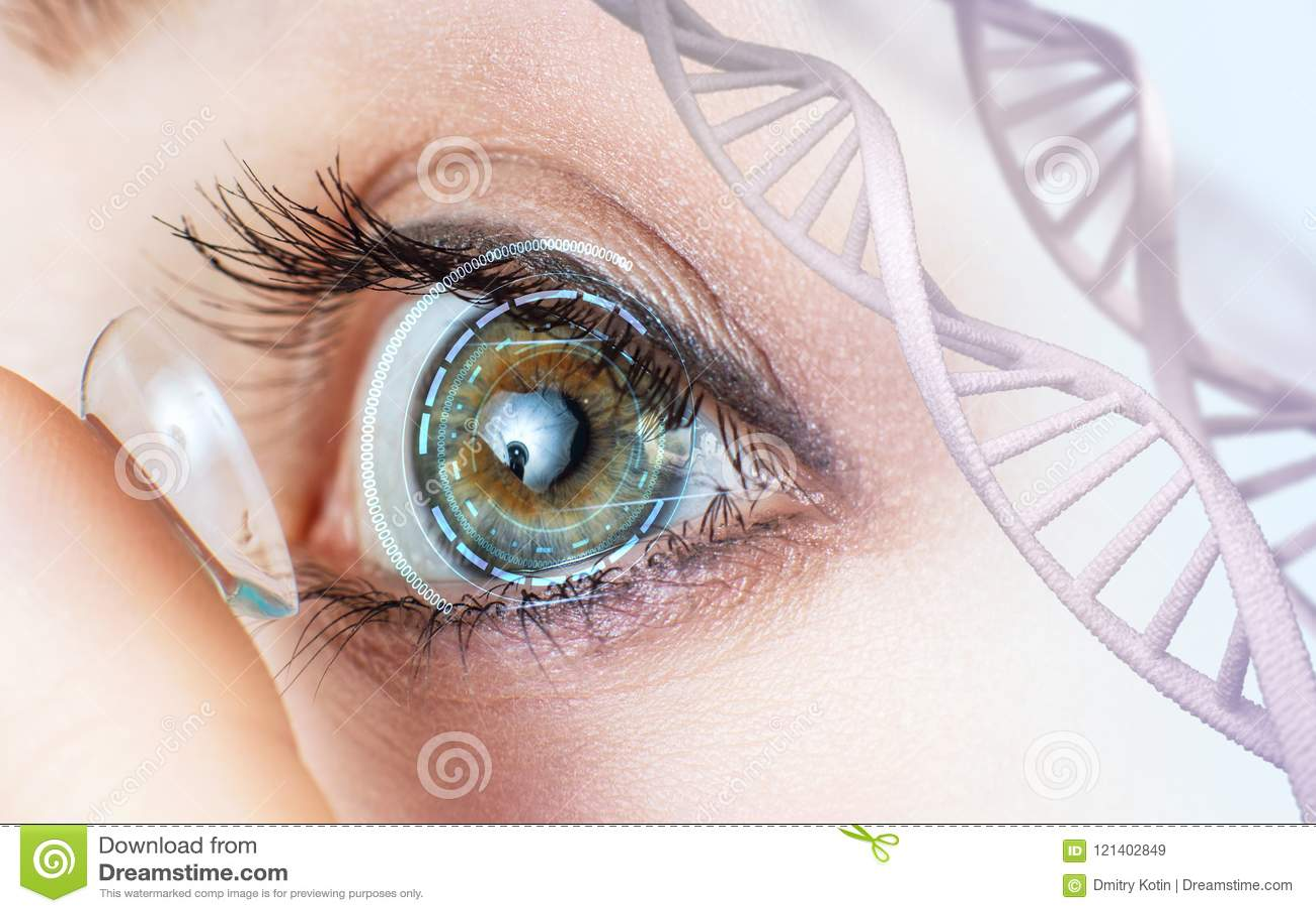 Lente de contato vestindo da mulher entre hastes do ADN
