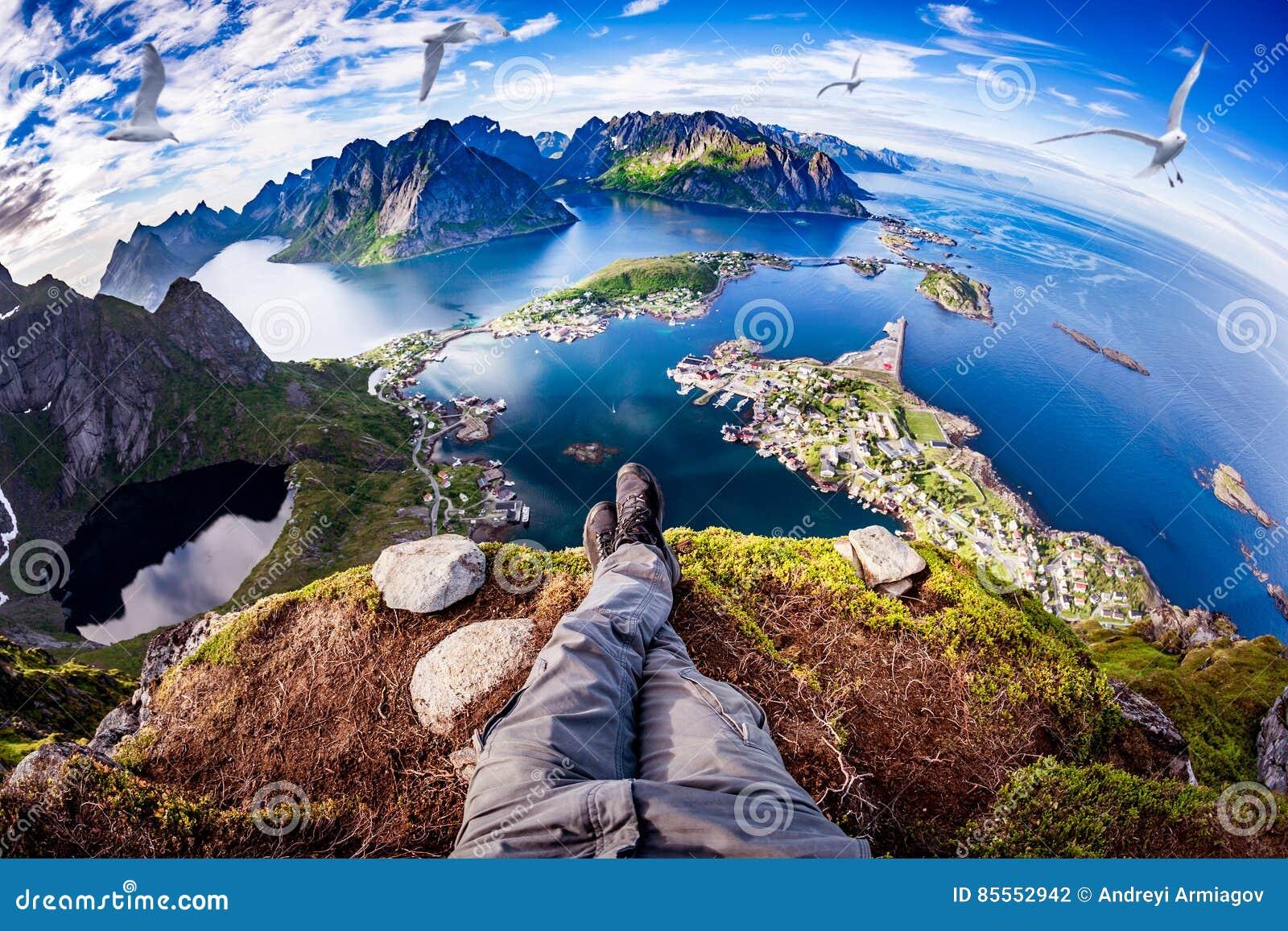 Lente de Fisheye do arquipélago de Lofoten