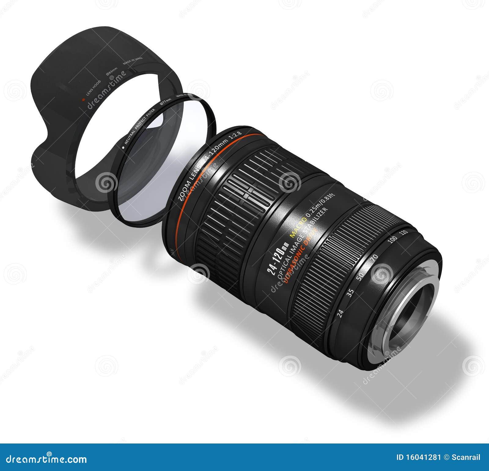 Lente de zoom com capa e filtro
