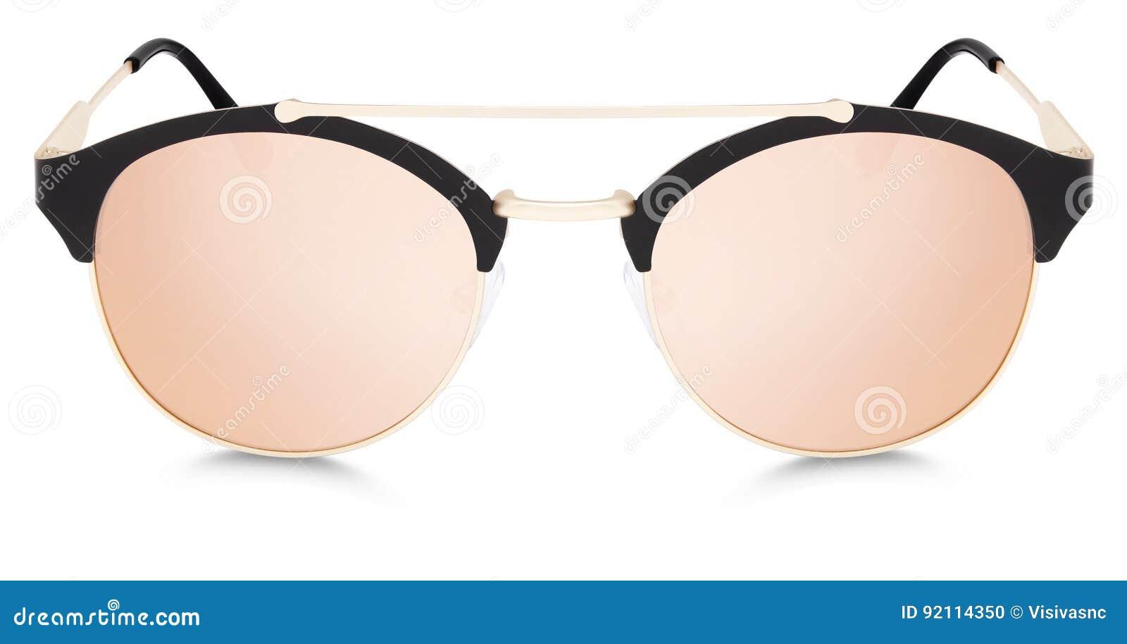 Lentes cor-de-rosa do espelho dos óculos de sol dourados e pretos isoladas b118a9340b