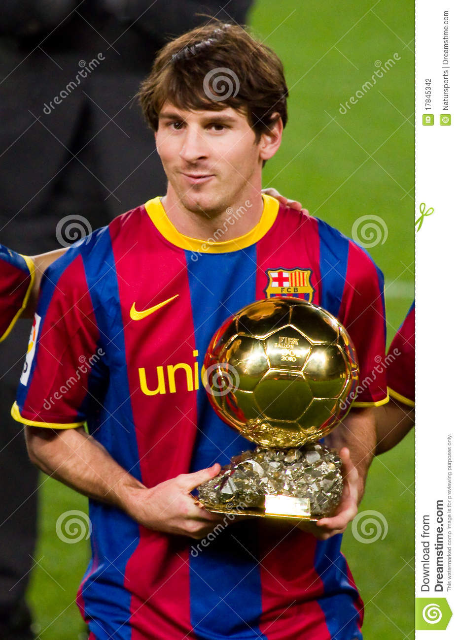 Leo Messi With Golden Ball Award Editorial Photography