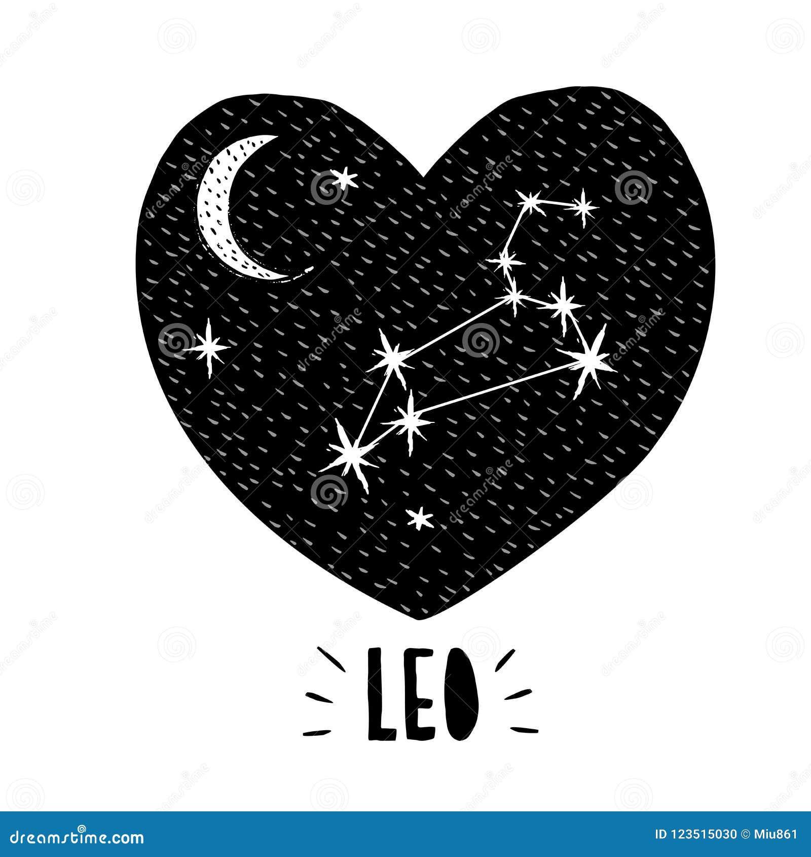 Leo Symbol Hand Drawn Zodiac Vector Illustration Infantile Graphic