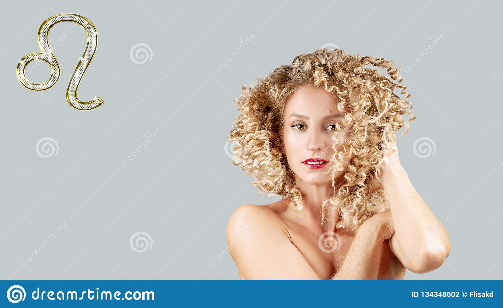Astrology and horoscope, Leo Zodiac Sign. Beautiful woman with curly hair