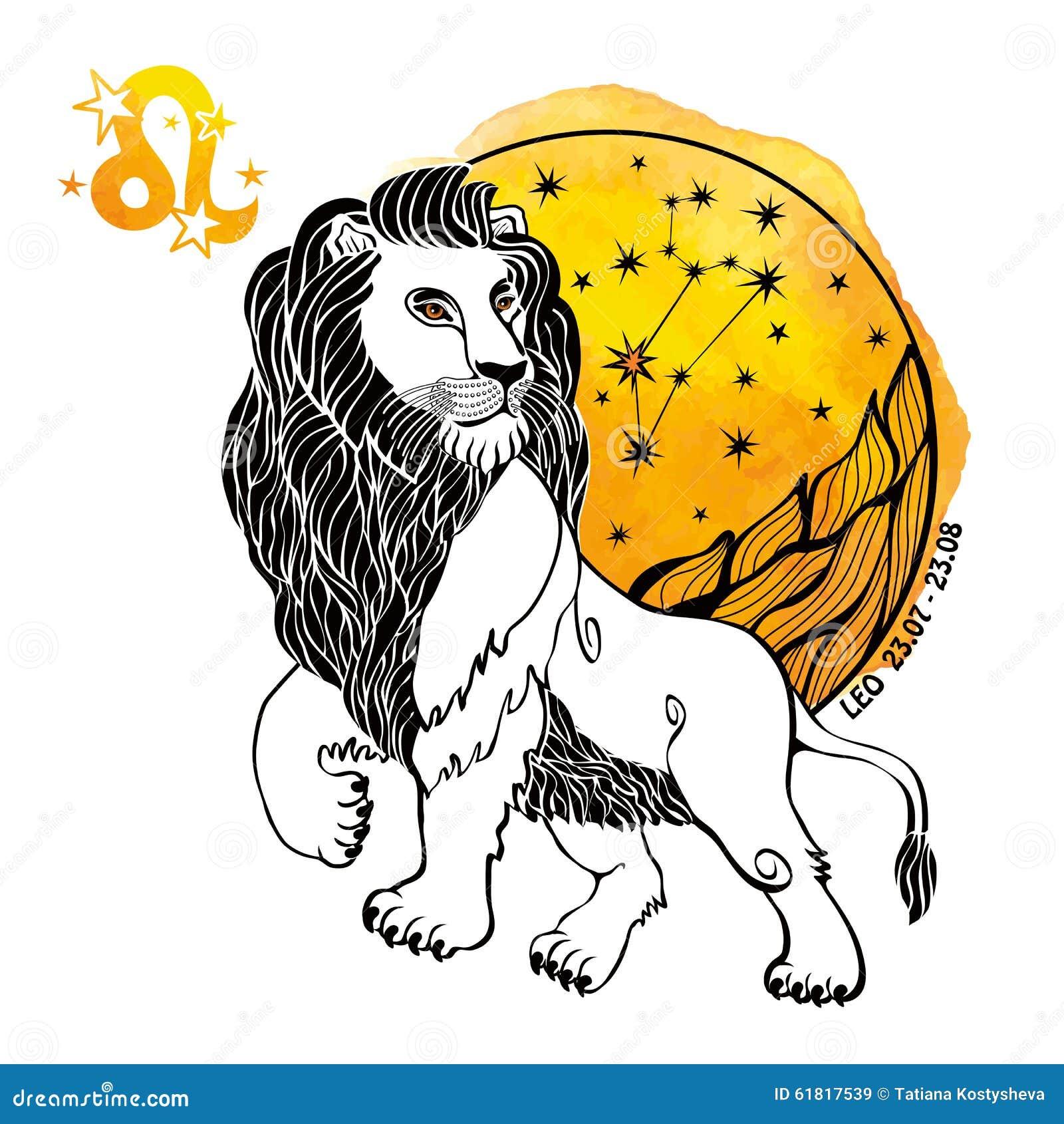 leo zodiac sign horoscope circle watercolor splash stock vector