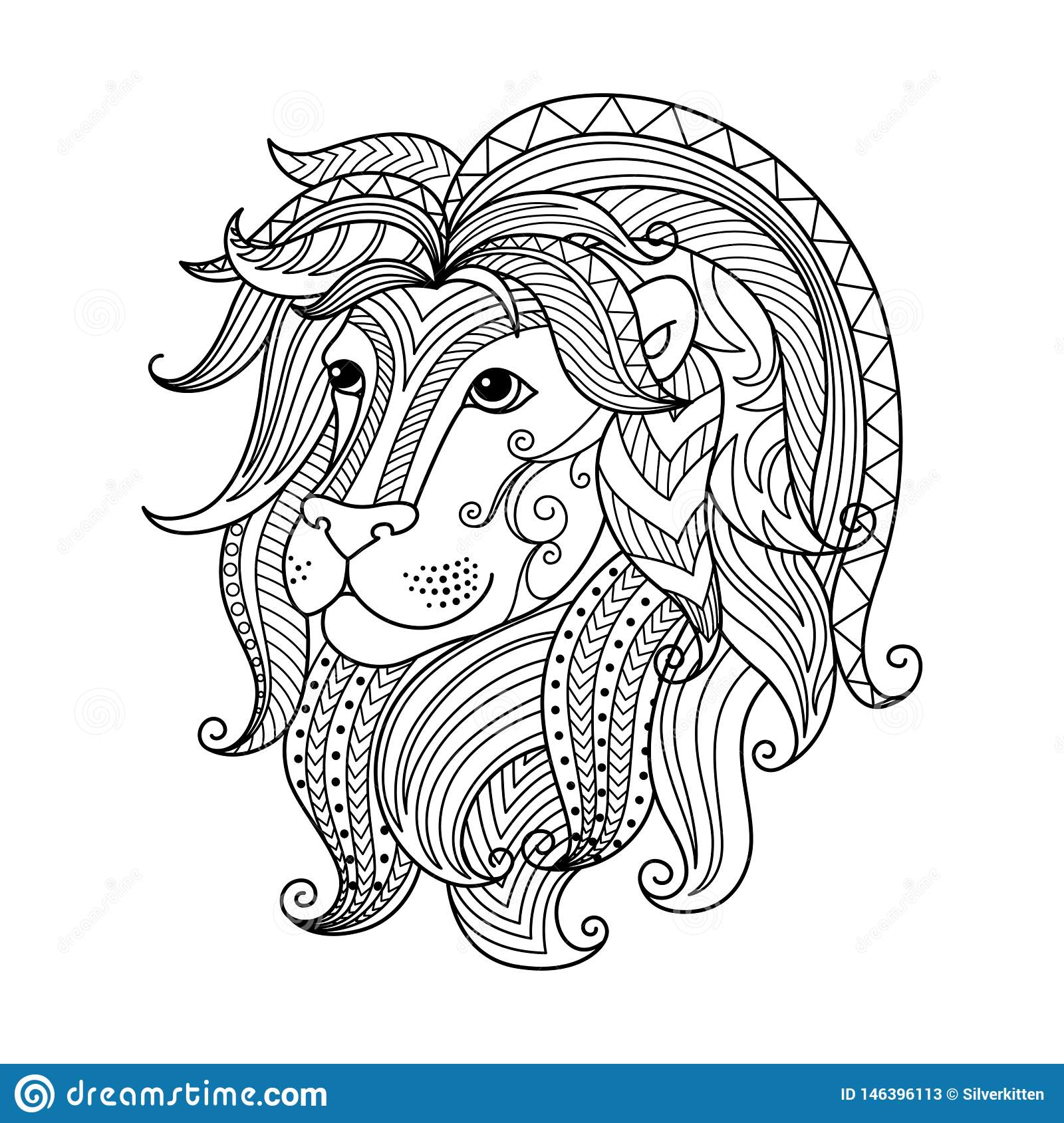 Leo Zodiac Sign. Zentangle Coloring Book Page For Adult ...