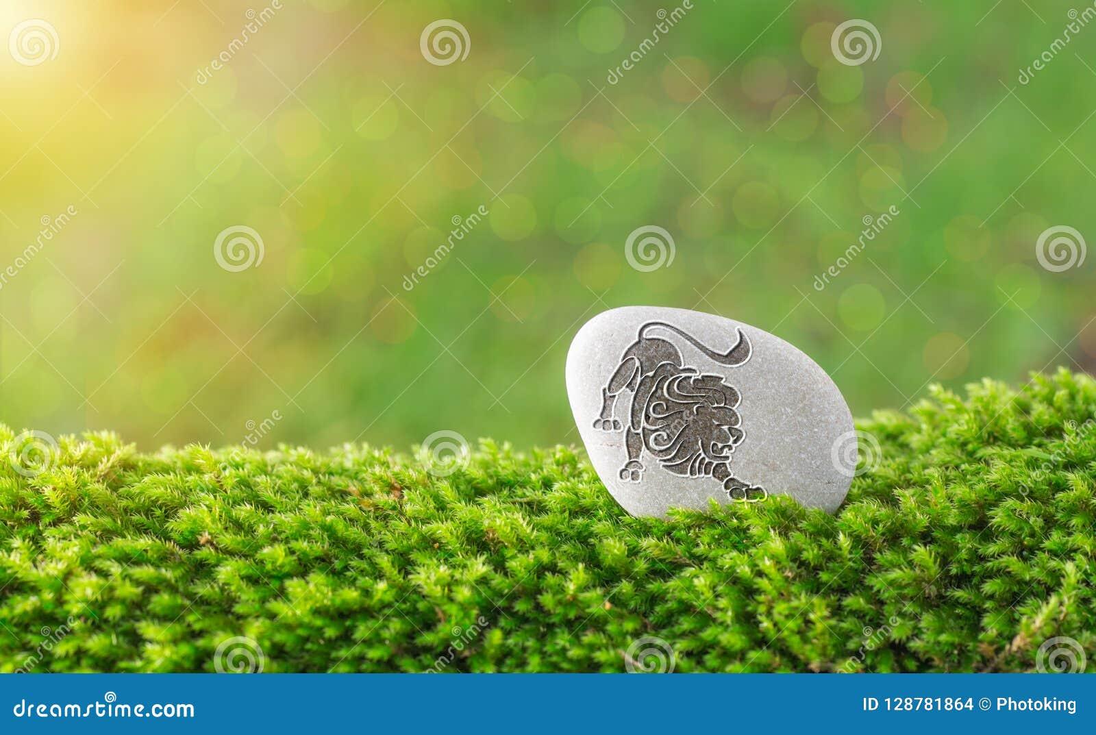 Leo zodiac symbol in stone