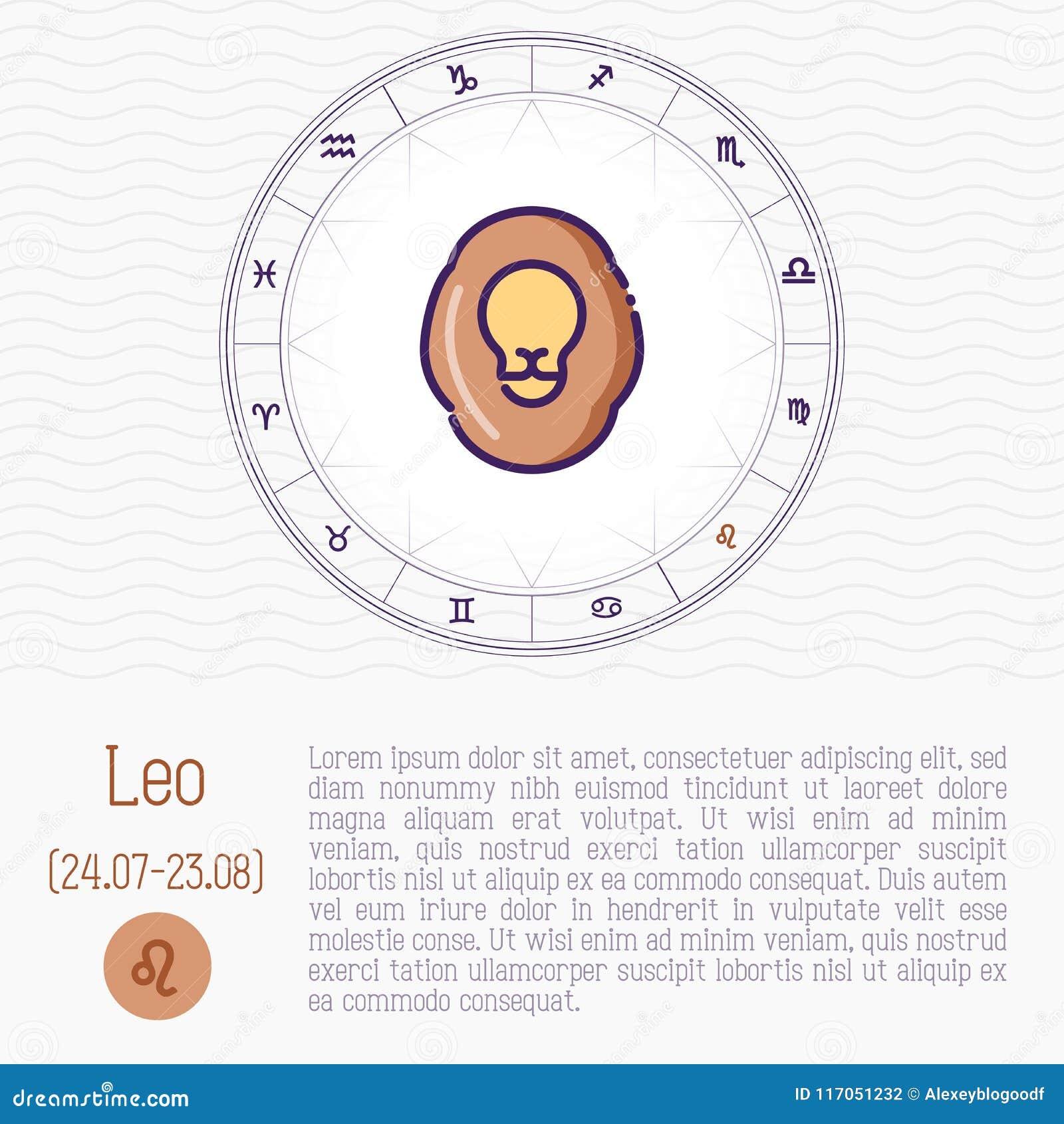 Leo In Zodiac Wheel, Horoscope Chart Stock Vector
