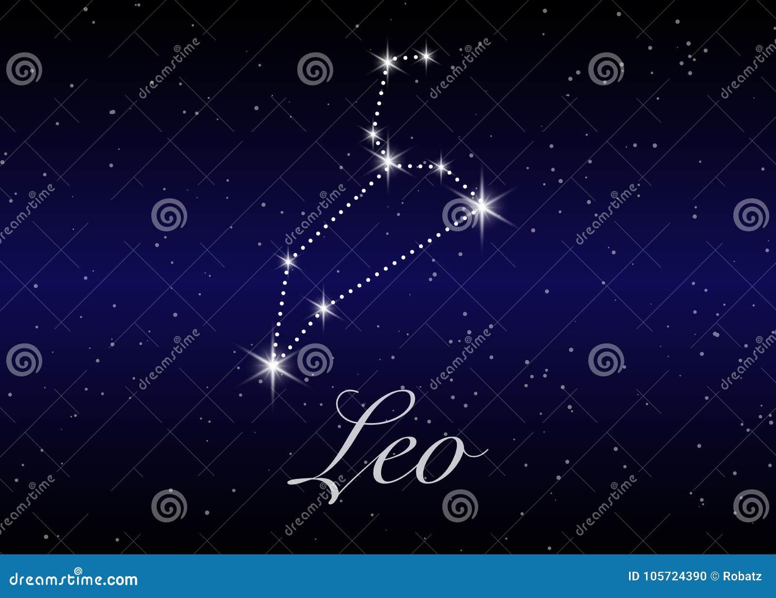 Leo zodiaka gwiazdozbiory podpisują na pięknym gwiaździstym niebie z galaxy i interliniują behind Lwa horoskopu symbolu gwiazdozb