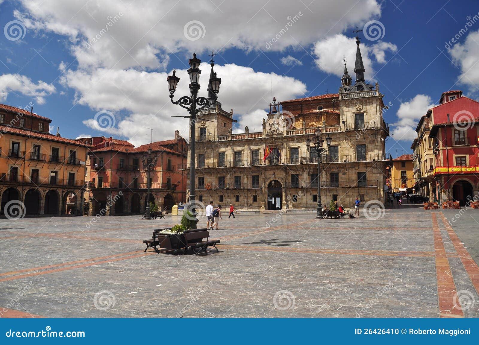 Leon, Hiszpania. Główny plac