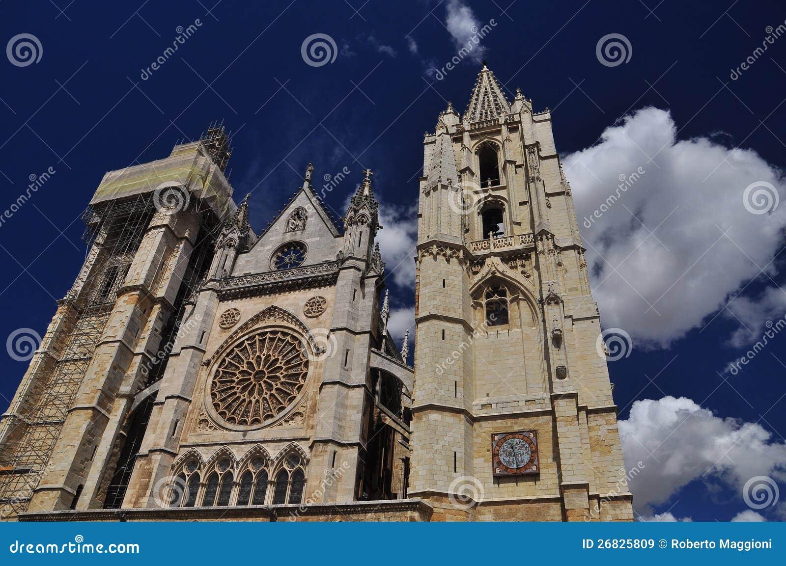 Leon Spanien. Gotisk domkyrka