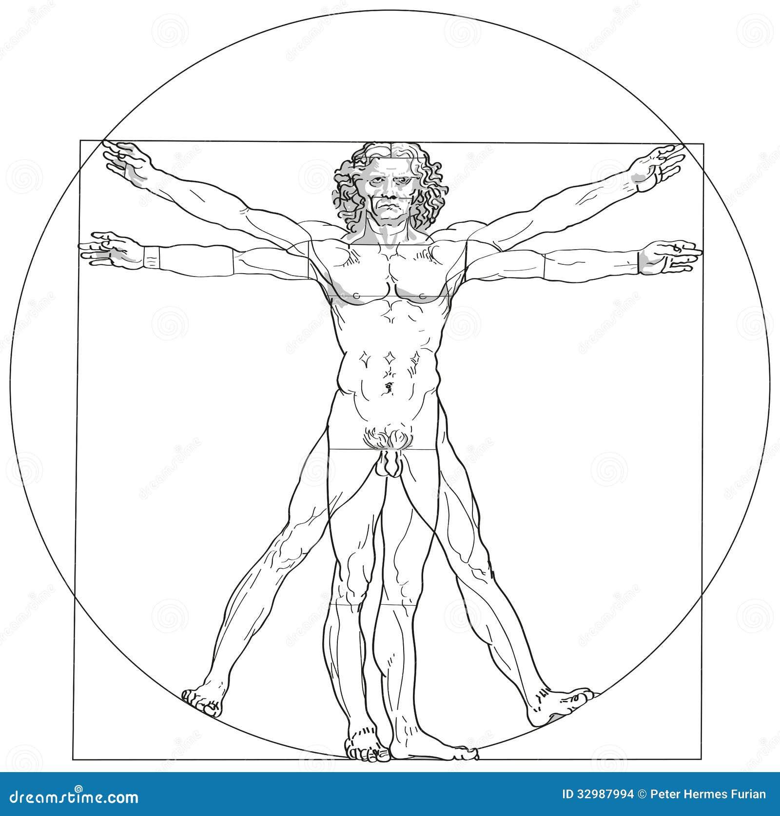 Leonardo Da Vinci ατόμων Vitruvian