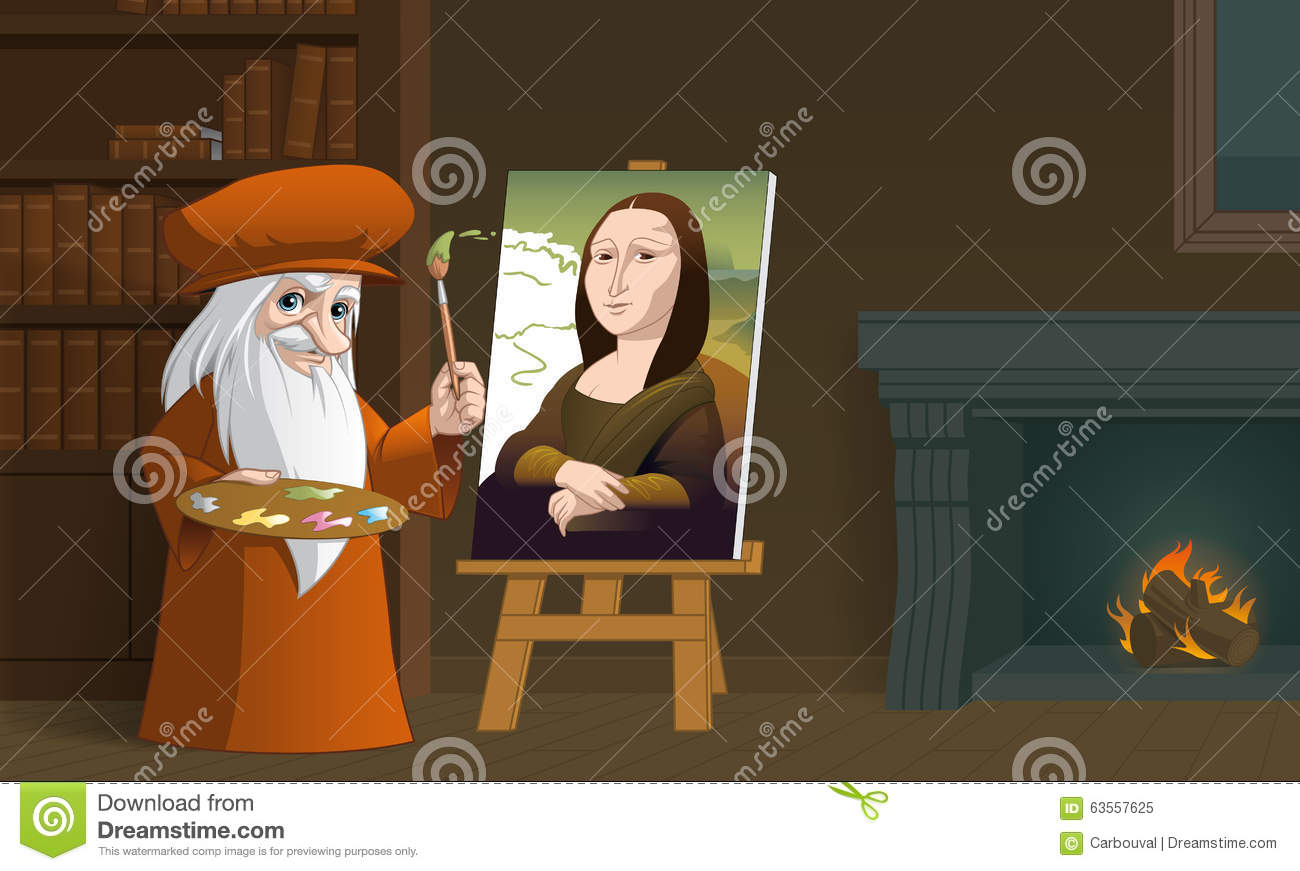 Leonardo Da Vinci Painting The Mona Lisa Stock