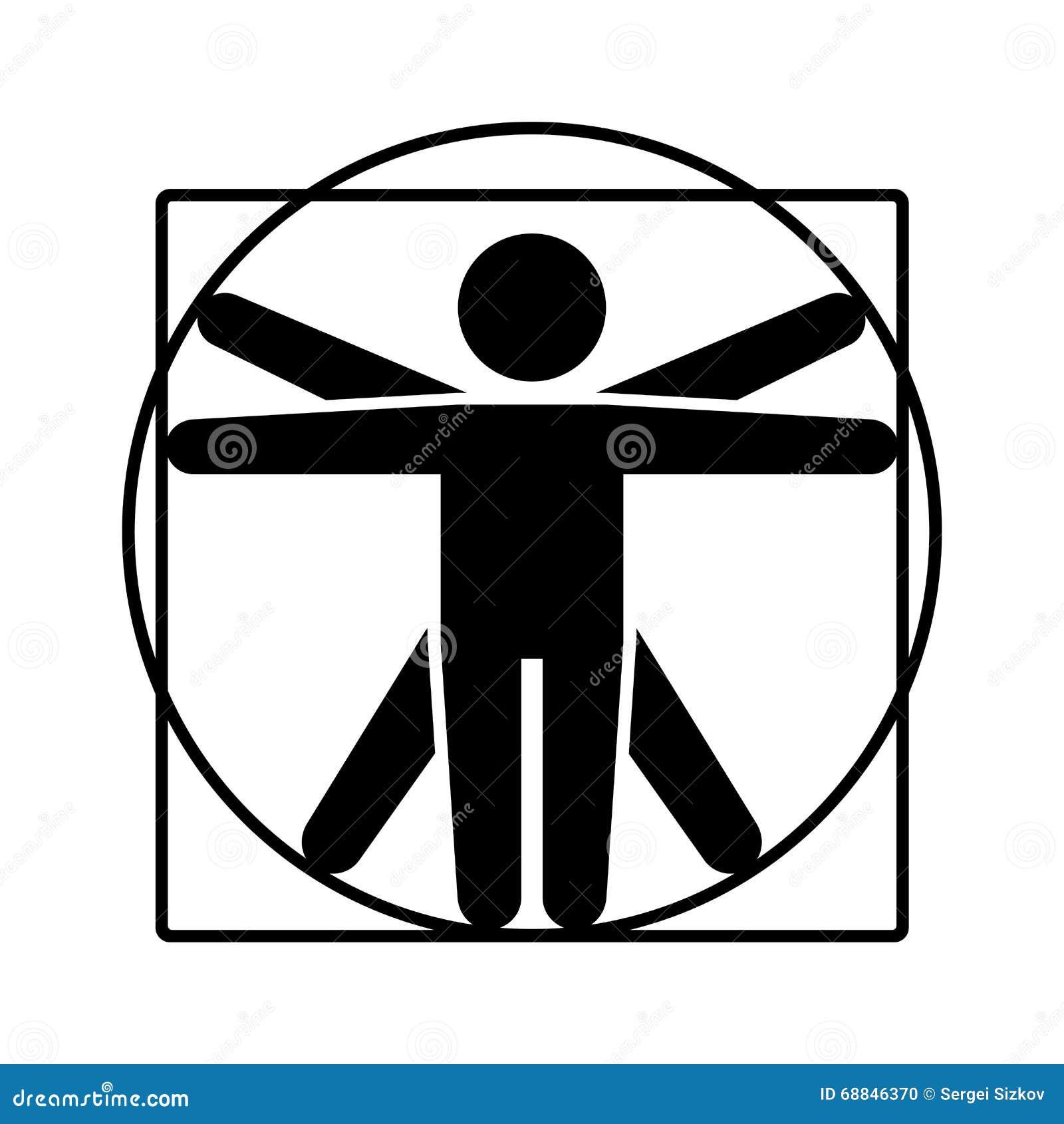 Leonardo Da Vinci Vitruvian Man Sign Logo. Stick Style ... Da Vinci Symbols
