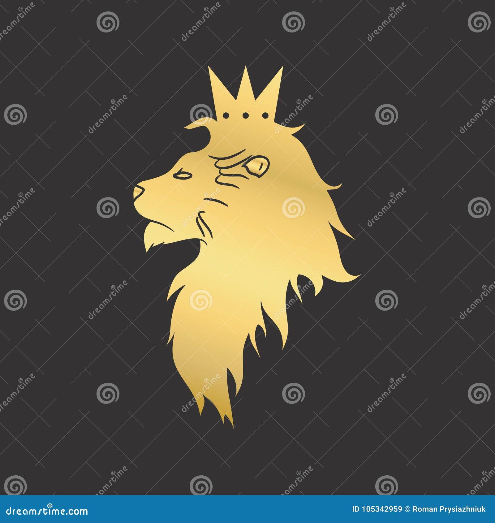 Leone dell oro con una corona Modello di logo Illustrazione di vettore