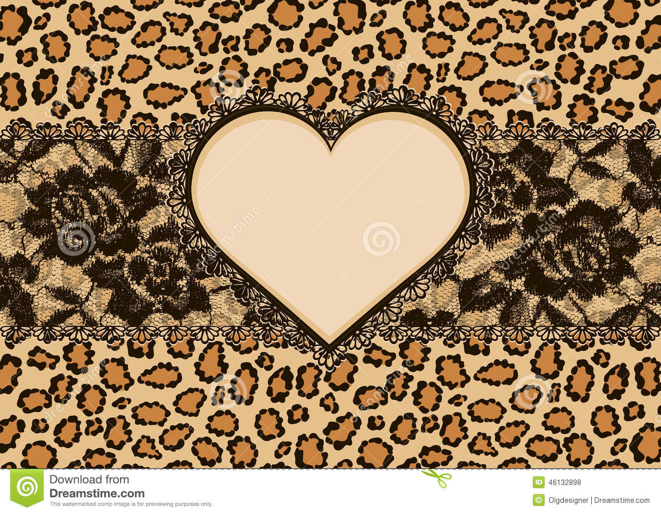 Greeting card with leopard fur texture, with elegant lacy ribbon and ...