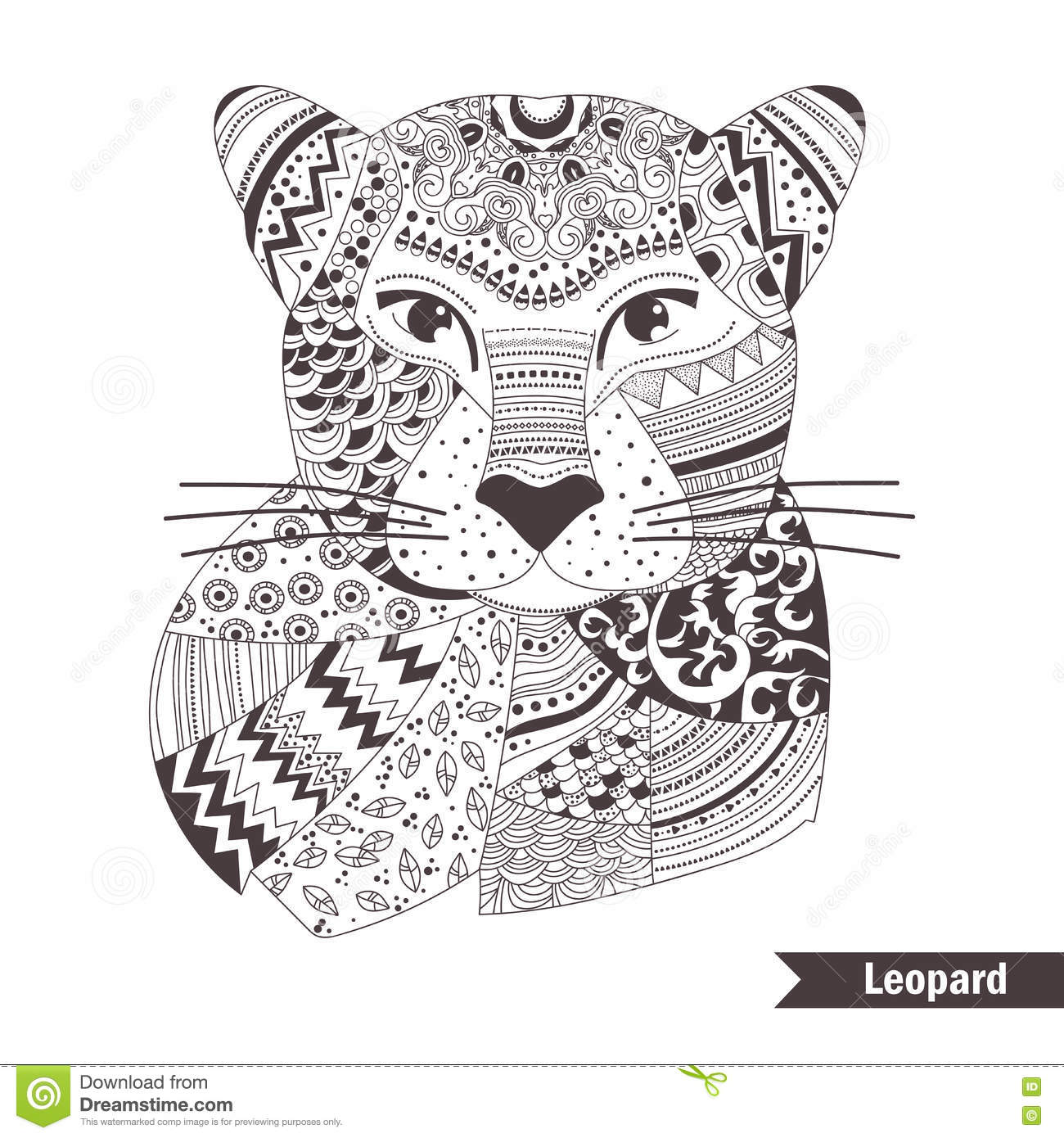 Free coloring pages leopard - Royalty Free Vector