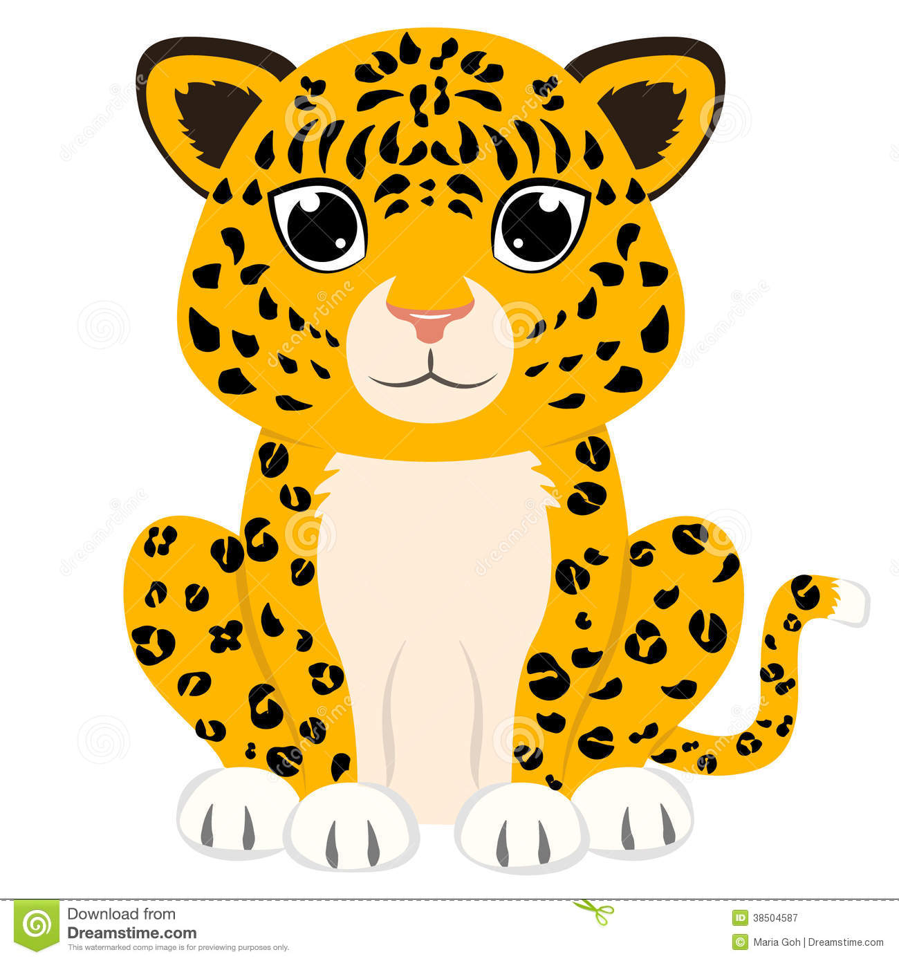 snow leopard and white clip art