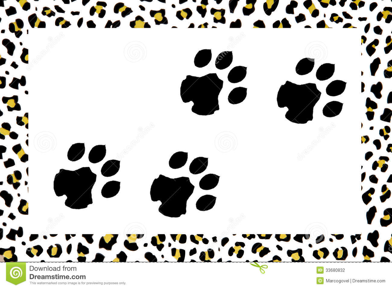 Image composed with leopard footprints and leopard skin background. African Lion Footprints