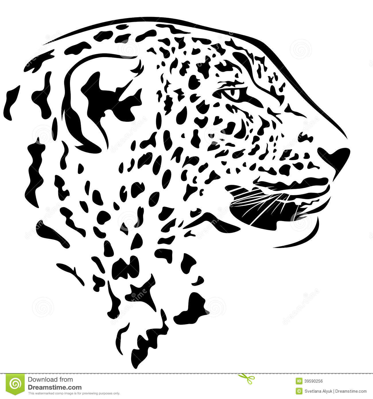 Leopard head stock vector. Illustration of spots, decorative - 39590256 for Leopard Clipart Black And White  29dqh