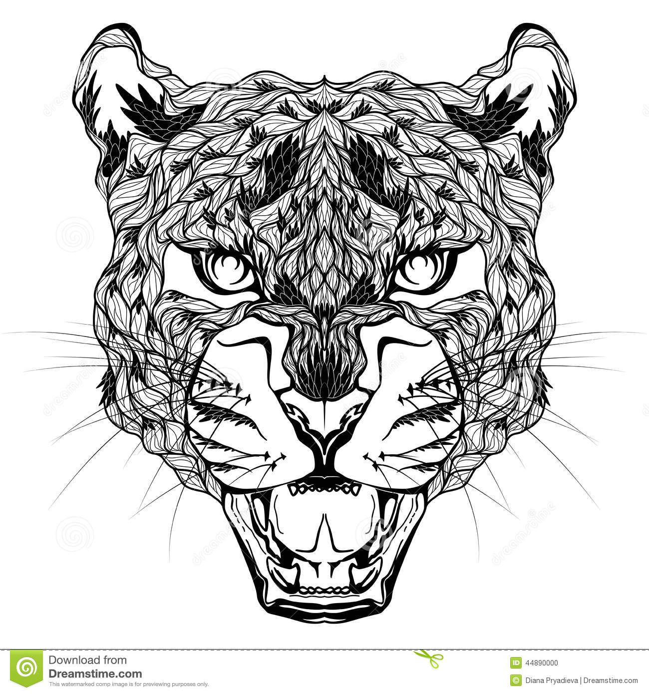 LEOPARD Head Tattoo Psychedelic Stock Vector Image