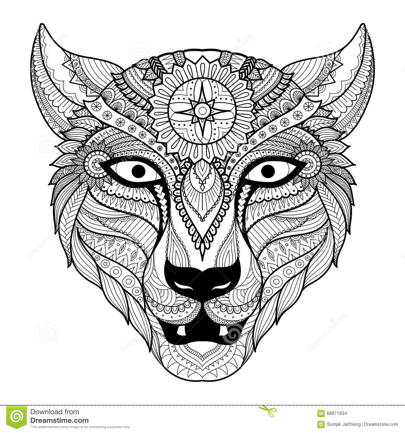 Leopard Line Art Design For Coloring Book For Adult Tattoo T Shirt Design And So On Stock