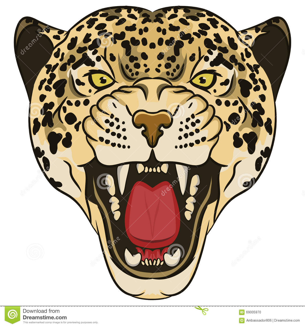 Leopard Portrait. Angry Wild Big Cat Stock Vector - Illustration of ... for Clipart Leopard Face  557yll