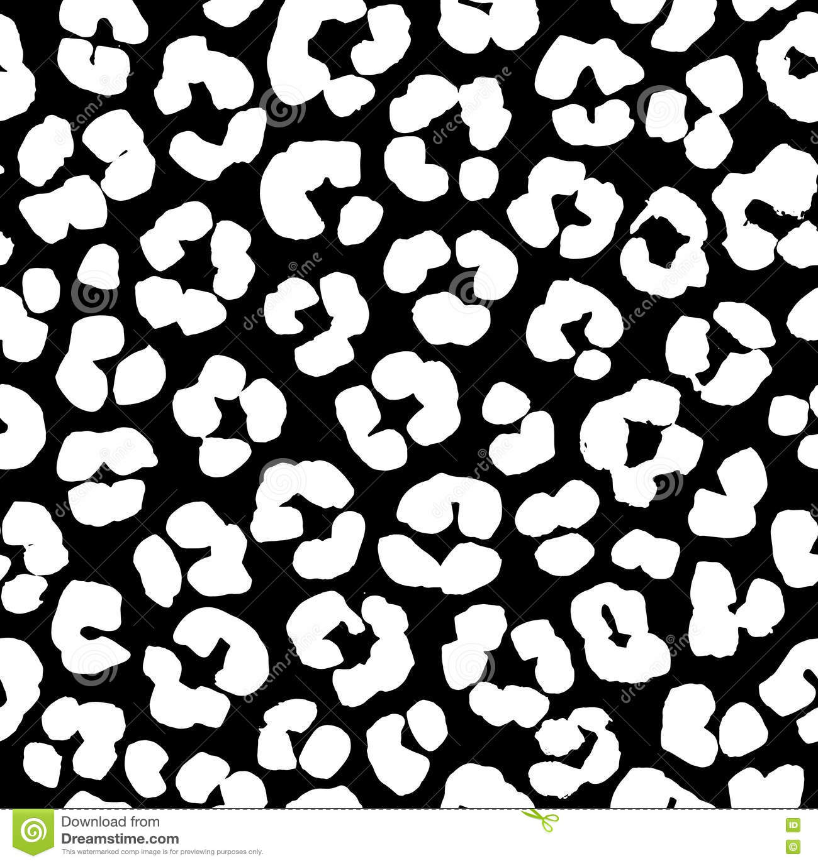 Cheetah Print Black And White Pattern Leopard Print Seamless...