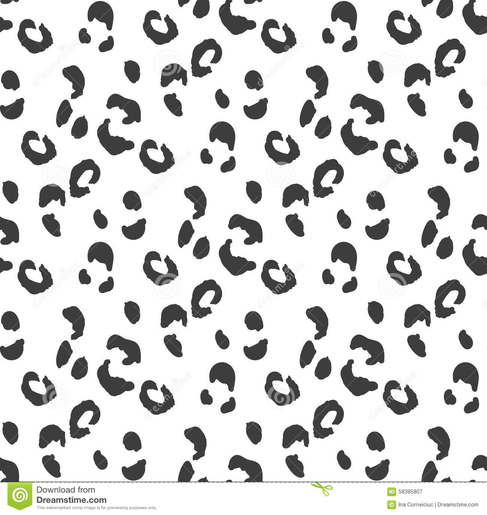 Leopard Skin Seamless Pattern Monochrome Wild Cat