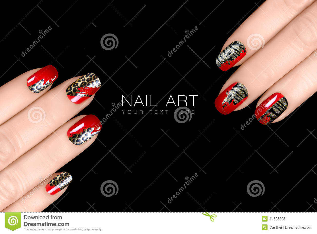 Leopard and Tiger Nail Art. Nail Polish Stickers w