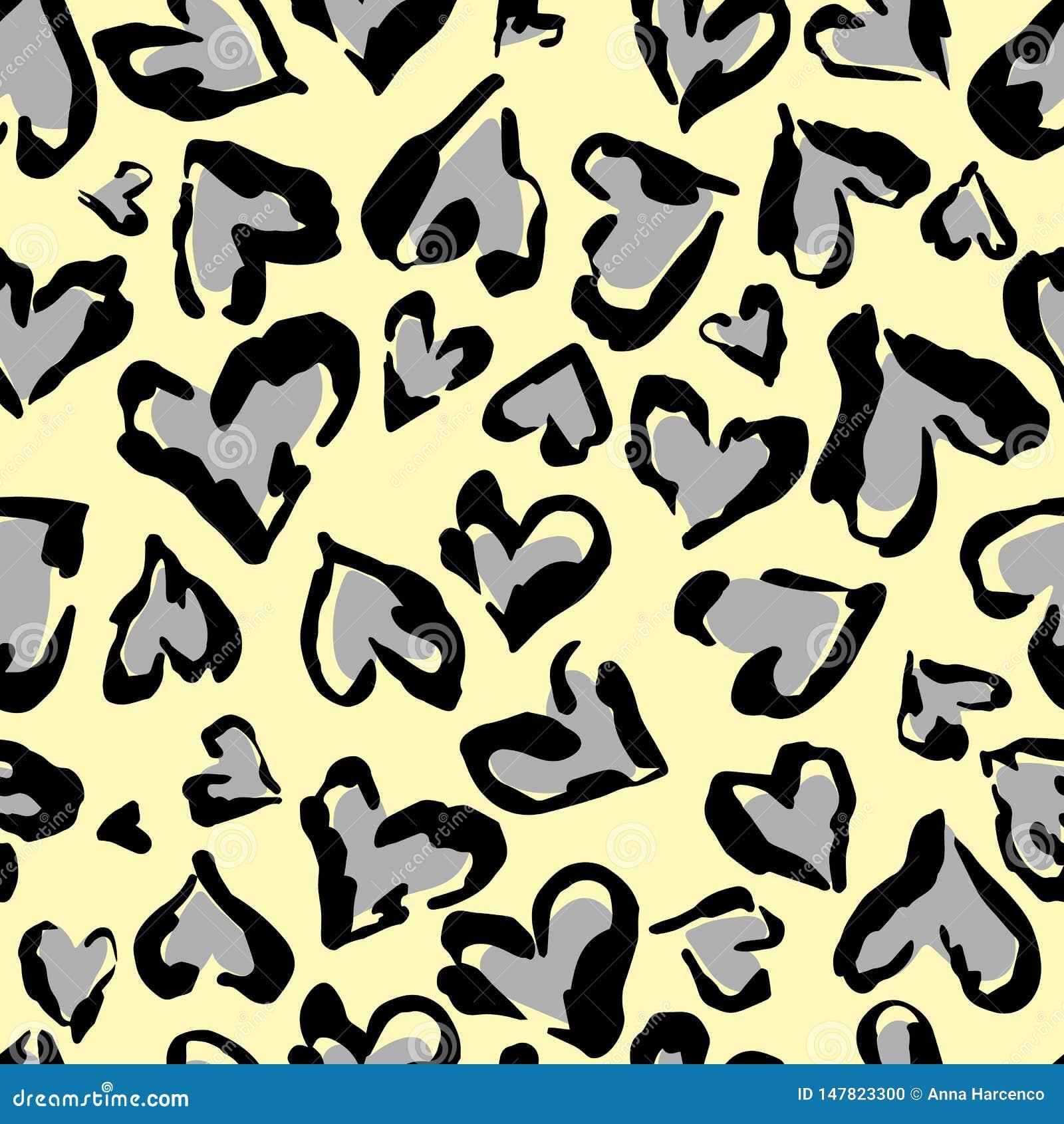 Leopardmuster Nahtloser Vektordruck Abstraktes wiederholendes Muster - Herzleopard-Hautnachahmung kann auf Kleidung gemalt werden