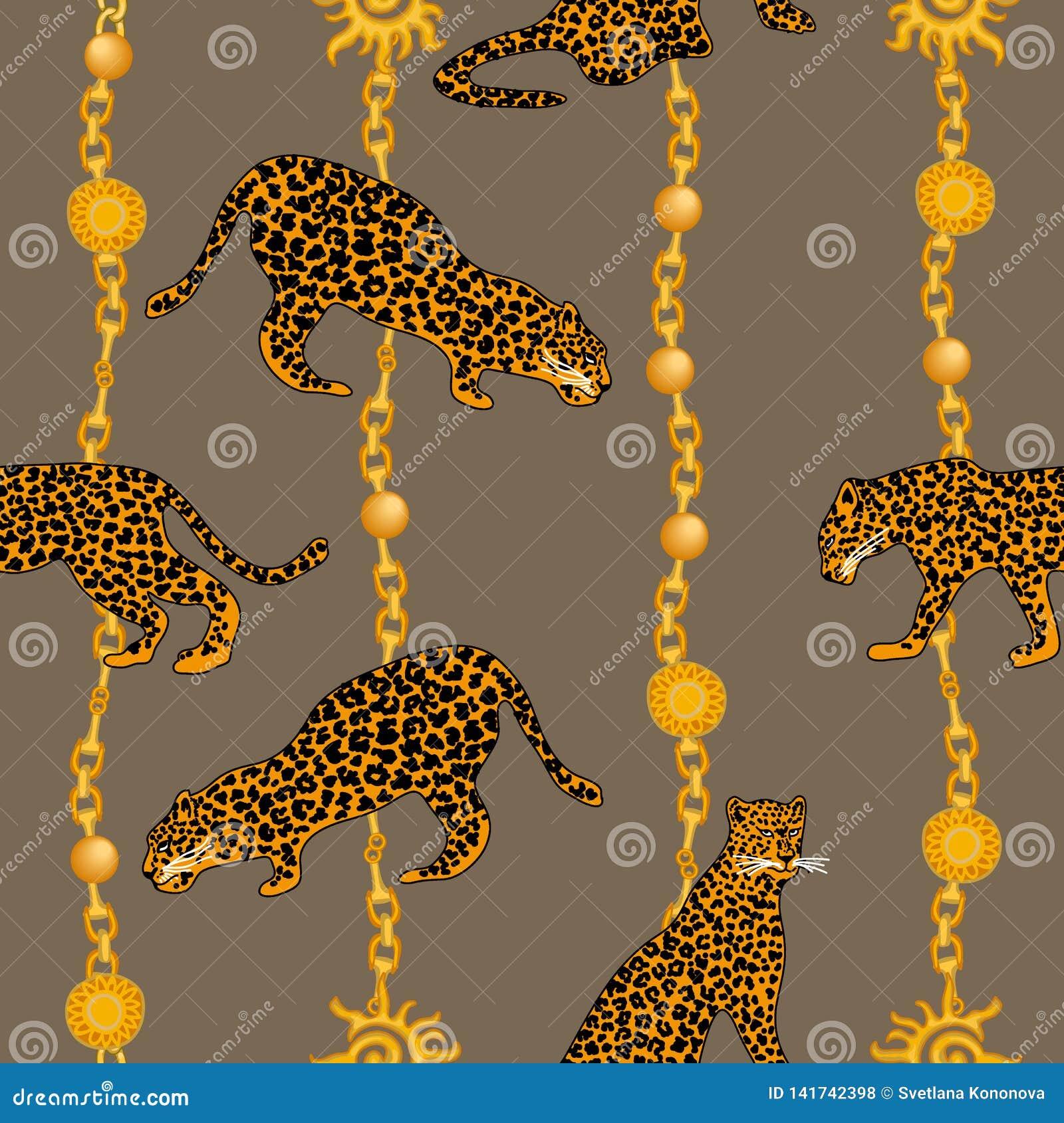 Leopardos, correntes douradas e pendentes