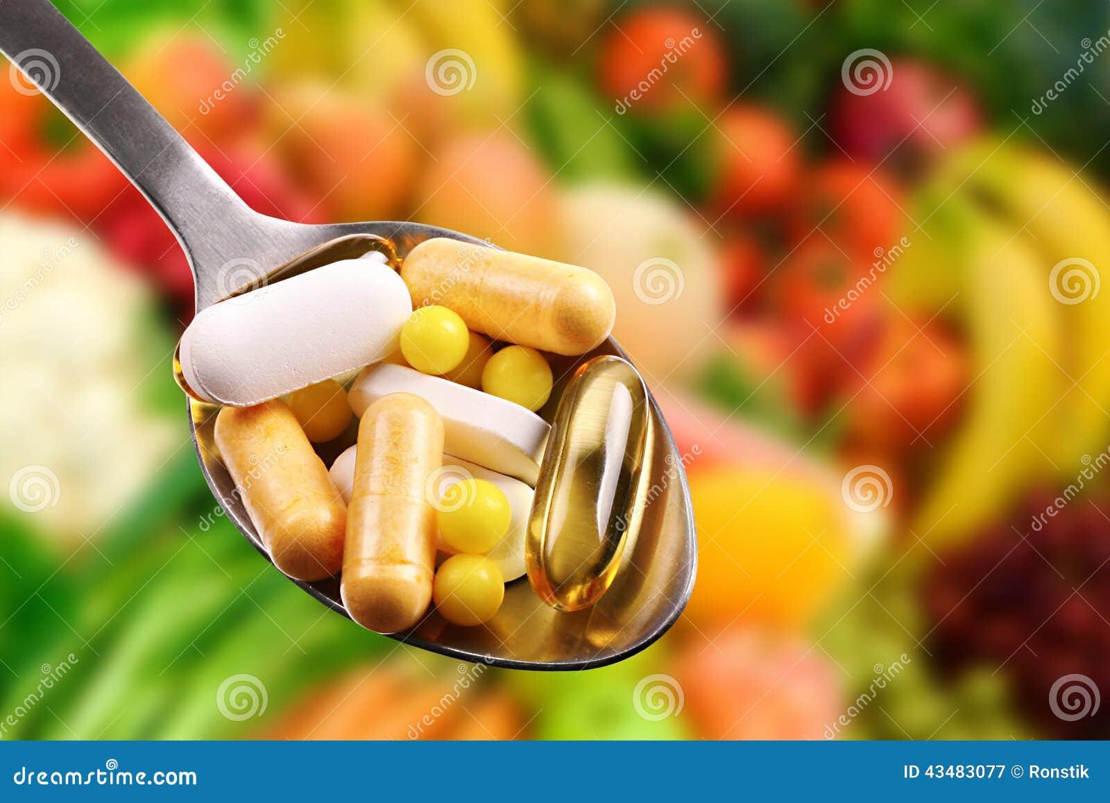 Lepel met dieetsupplementen