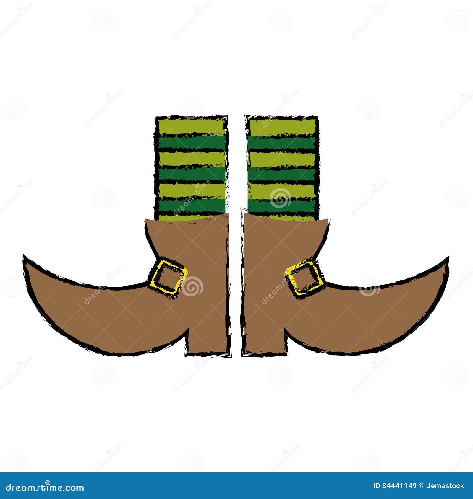 Leprachaun ботинка шаржа stripes день St. Patrick носок