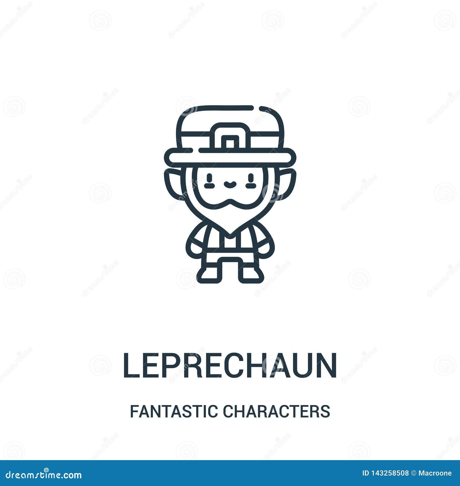Leprechaun διάνυσμα εικονιδίων από τη φανταστική συλλογή χαρακτήρων Η λεπτή γραμμή leprechaun περιγράφει τη διανυσματική απεικόνι