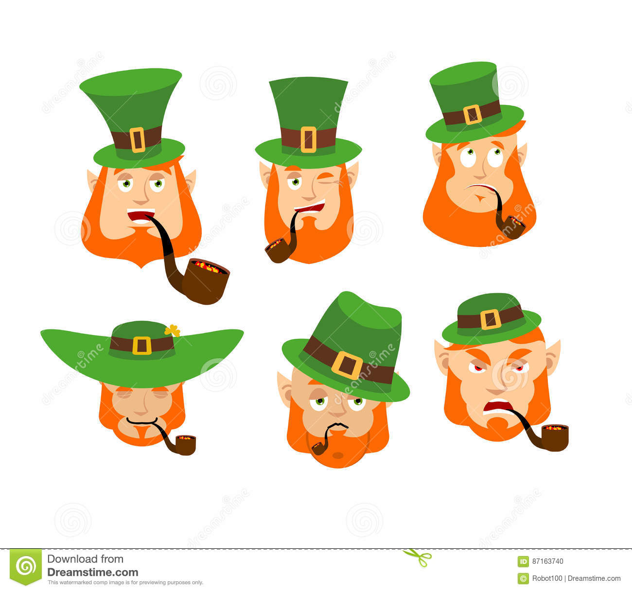 585aaee9638 Happy and Sad. Angry and sleeping. surprised and winks. Dwarf with red  beard. Irish elf emotions.