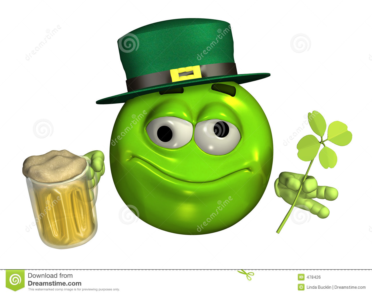Leprechaun Emoticon With Beer - With Clipping Path Royalty Free Stock ...