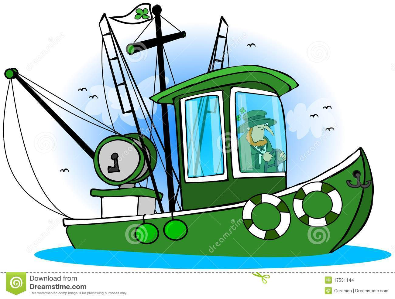 Leprechaun Fishing Boat stock illustration. Illustration of ship - 17531144