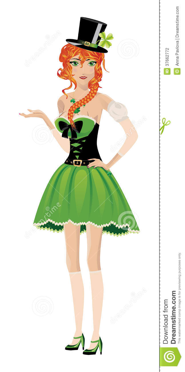 Beautiful red haired leprechaun girl on white background.