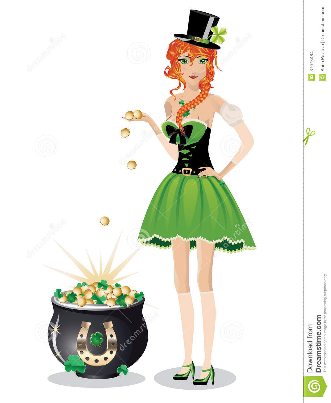 leprechaun with pot of gold stock images image 37076484