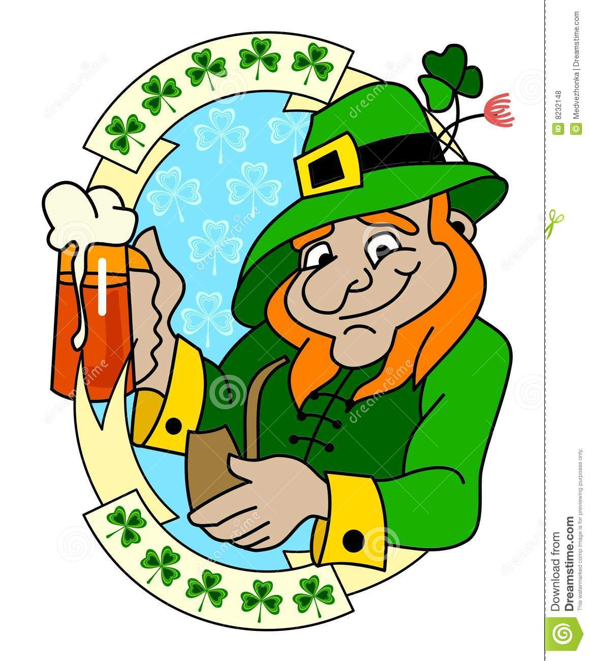 A Leprechaun With Glass Of Beer Stock Vector ...