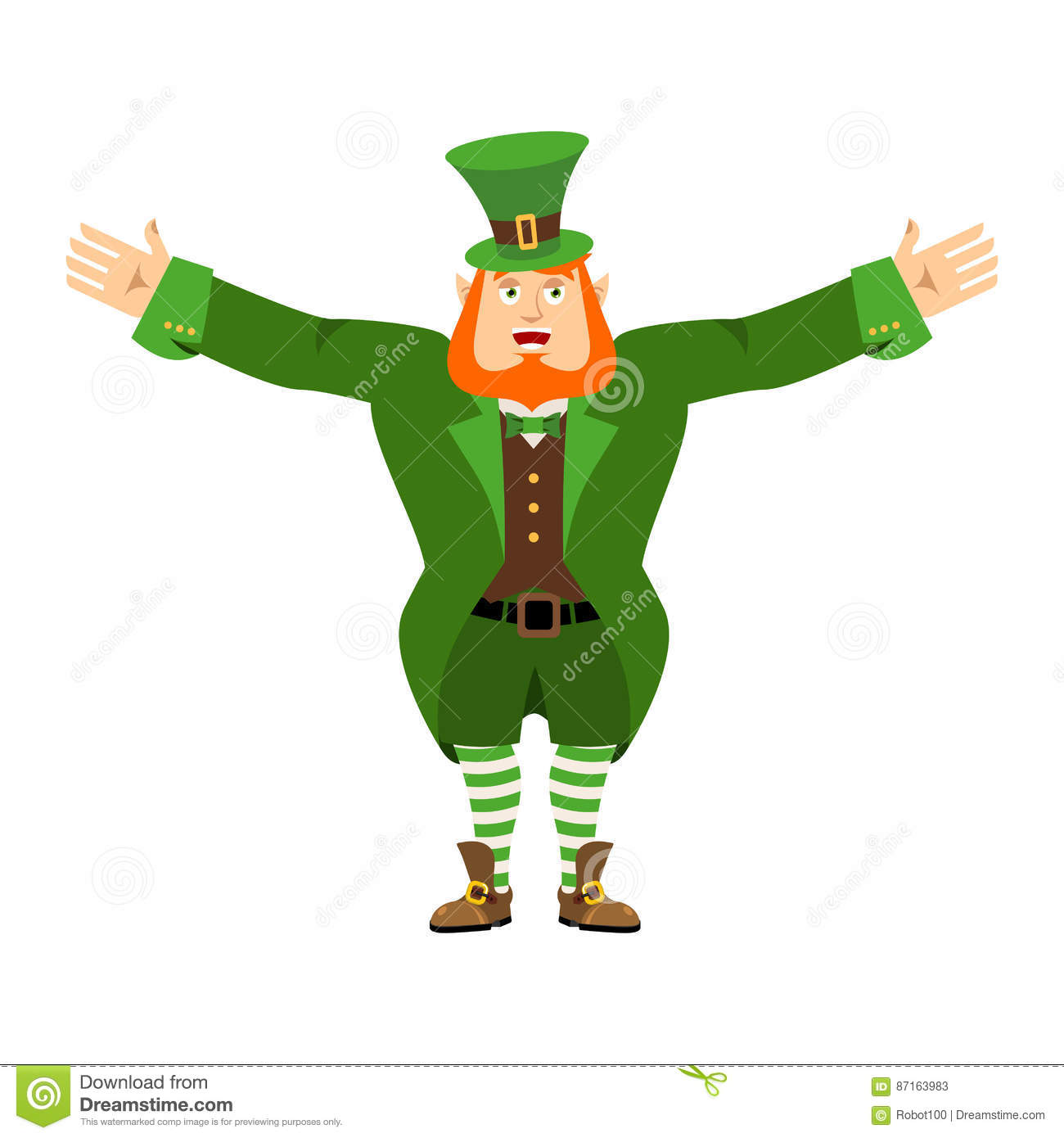 Leprechaun Happy. Dwarf With Red Beard Merry Emoji. Irish Elf Em ...