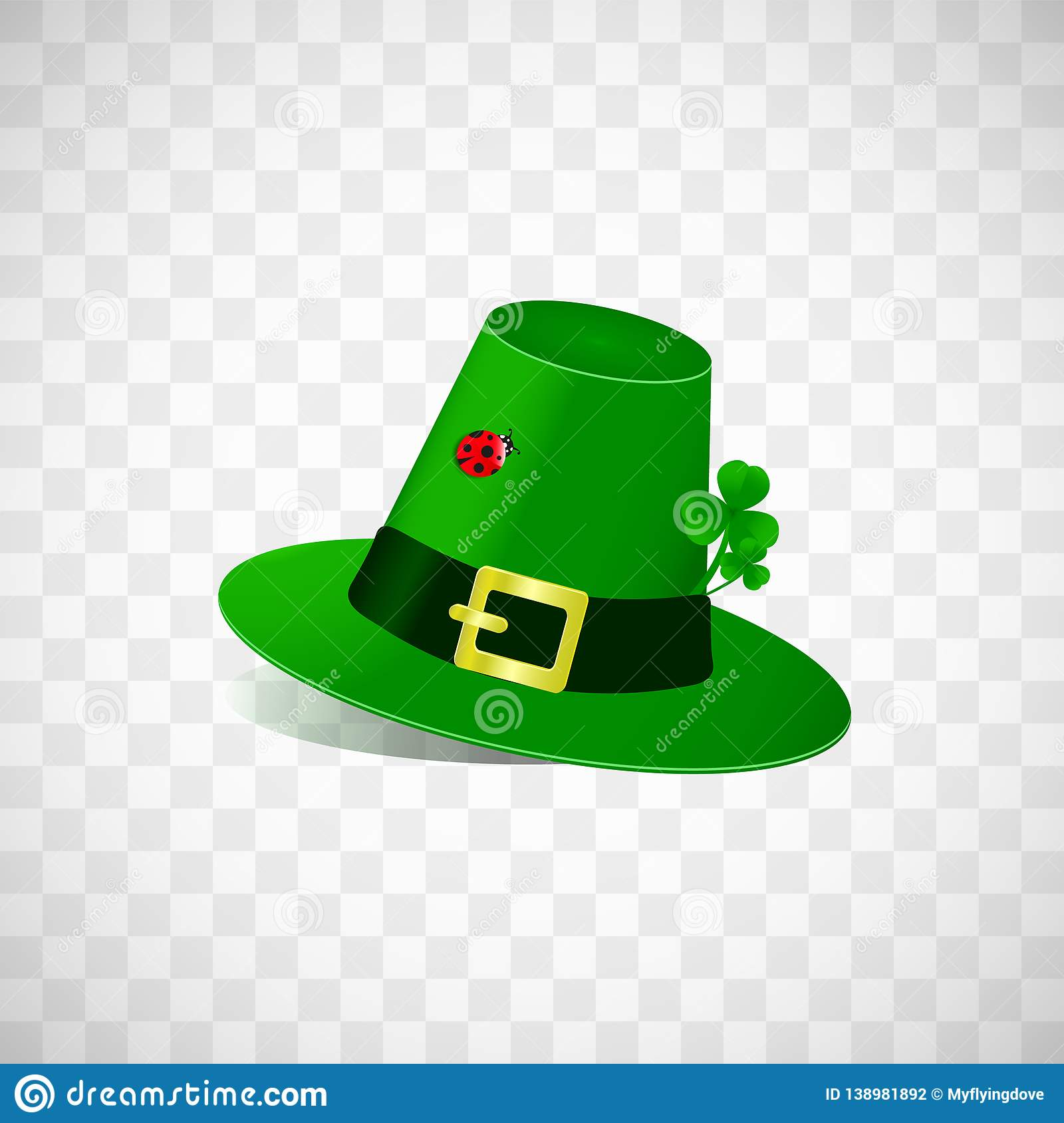 Leprechaun Hat With Fhree Leafed Clover And Ladybug Isolated On