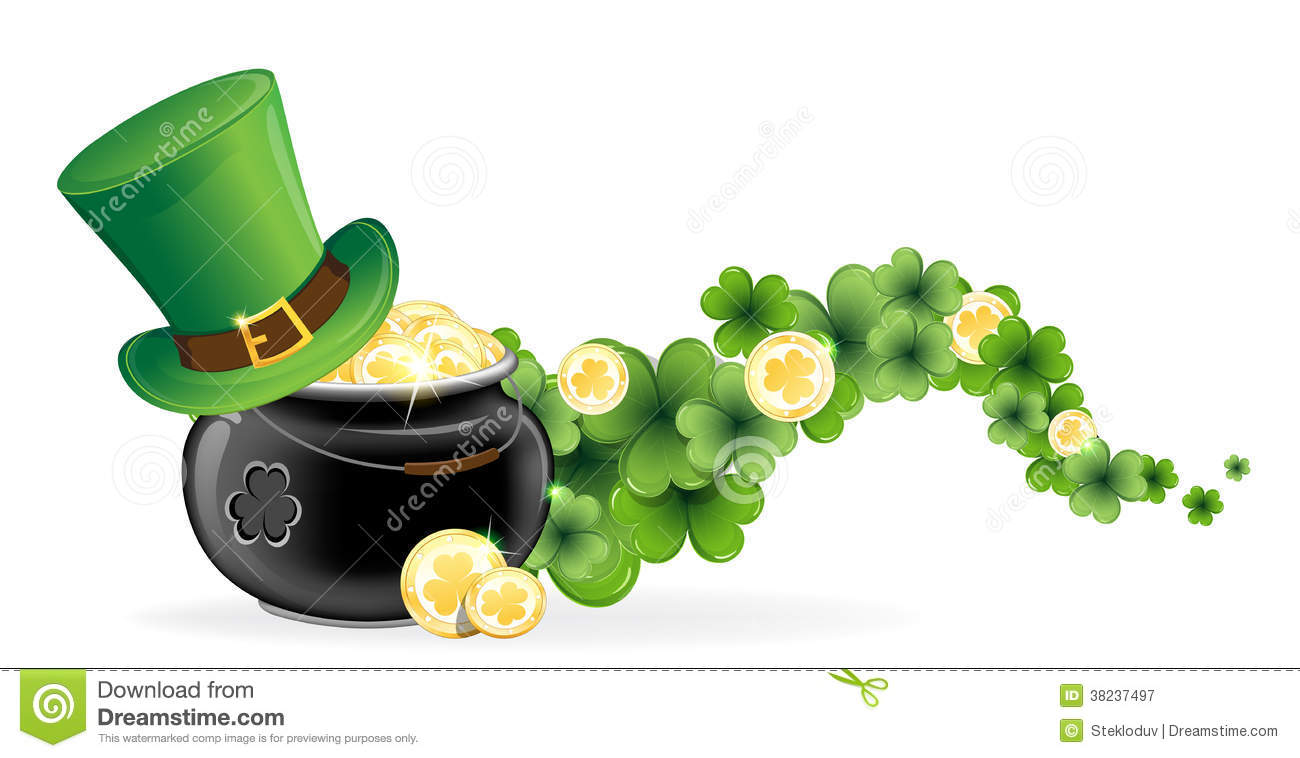 leprechaun hat and pot of gold stock vector image 38237497